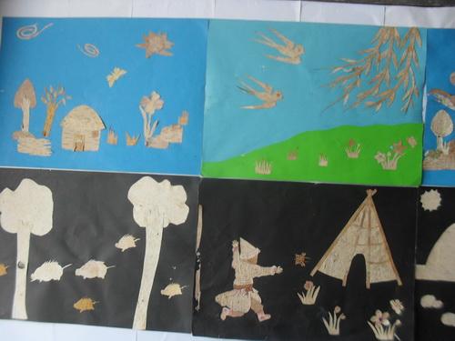 萨马街鄂温克民族学校桦树皮贴画迎 双节